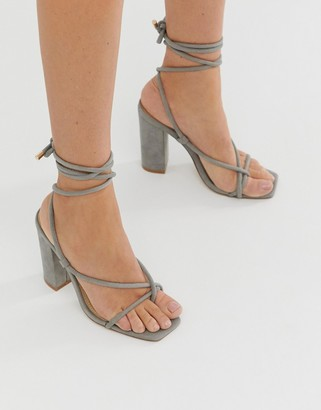 Public Desire Betty grey ankle tie toe loop heeled sandals