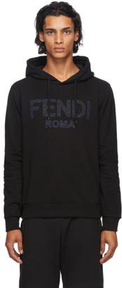 Fendi Black Embroidered Logo Hoodie