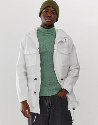 Asos Design DESIGN parka jacket in white