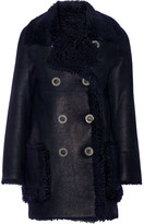 Karl Donoghue Double-breasted Reversible Shearling Coat - Midnight blue