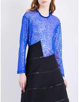 Junya Watanabe Sheer long-sleeved sequinned top