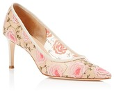 Bettye Muller Annebel Floral-Embroidered Mesh Pointed Toe Pumps