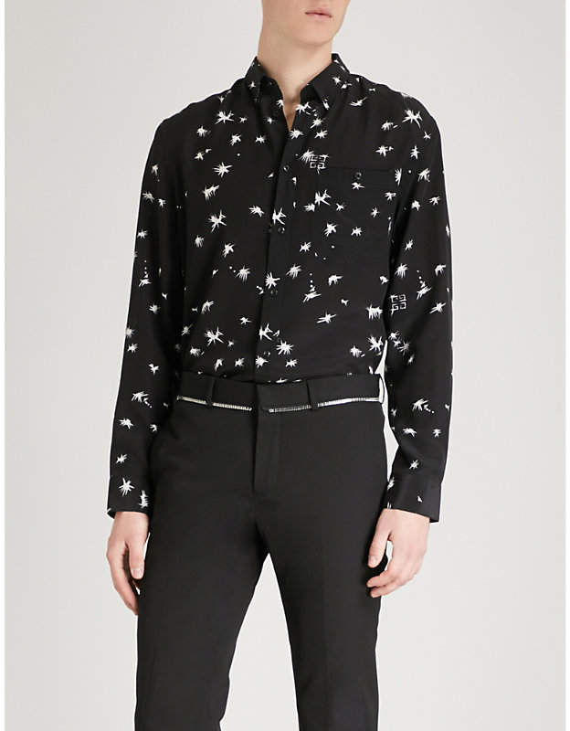 Givenchy Splatter-print slim-fit silk shirt