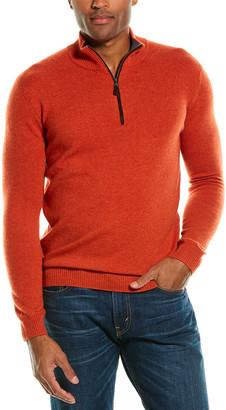 Forte Cashmere Piped-Trim Cashmere 1/4-Zip Mock Sweater