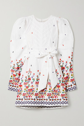CHUFY Kenko Embroidered Cotton Mini Dress - White