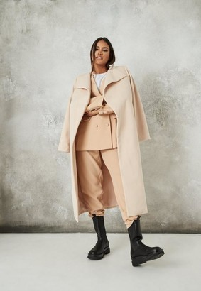 Missguided Tan Belted Formal Coat