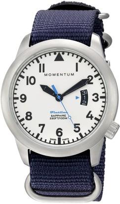 Momentum Men's Swiss Quartz Stainless Steel and Nylon Watch