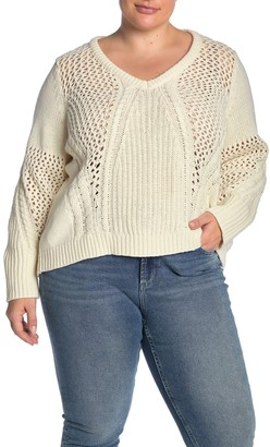 Junarose Jrasika Open Stitch V-Neck Sweater (Plus Size)