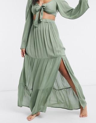 ASOS DESIGN tiered maxi beach skirt co-ord in khaki
