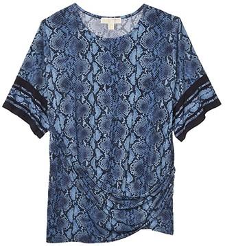 MICHAEL Michael Kors Size Snake Border Tie T-Shirt (Chambray) Women's Clothing