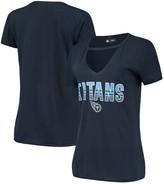 New Era Women's Navy Tennessee Titans Gradient Glitter Choker V-Neck T-Shirt