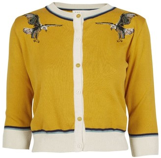 Palava Vera - Mustard Embroidered Eagle Organic Cotton Cardigan