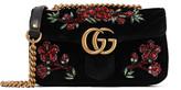 Gucci Gg Marmont Small Crystal-embellished Velvet Shoulder Bag - Black
