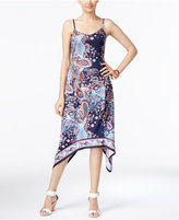 ECI Paisley-Print A-Line Handkerchief-Hem Dress