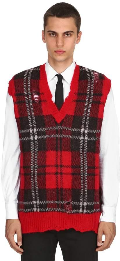 Alexander McQueen Plaid Mohair & Wool V-Neck Vest