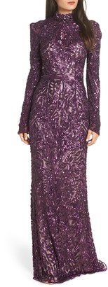 Mac Duggal High Neck Sequin Gown with Train