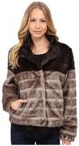 Via Spiga Faux Fur Color Block Coat