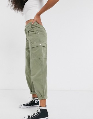 New Look balloon leg trousers with pocket detail in khaki