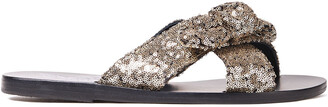 Ancient Greek Sandals Thais Bow-embellished Sequined Woven Slides