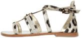 Roberto Cavalli Leopard Printed Satin Sandals