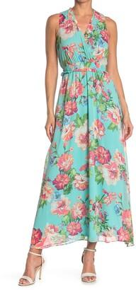 London Times Floral Sleeveless Blouson Maxi Dress