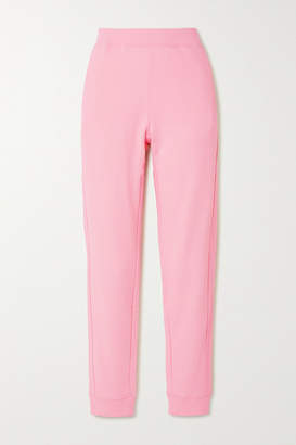 Moschino Appliqued Cotton-jersey Track Pants - Pastel pink