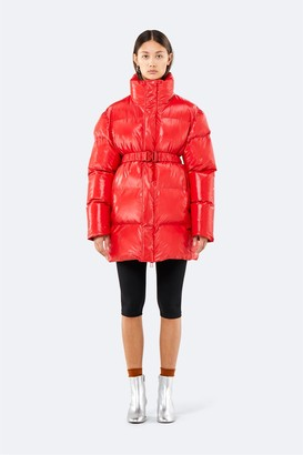 Rains Journal - Puffer Shiny Coat - M-L | PU | beige - Red/Black/Beige