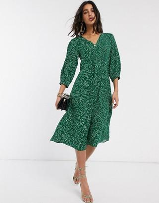 Y.A.S midi dress with v neck in polka dot