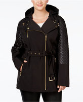 MICHAEL Michael Kors Size Hooded Faux-Leather-Trim Asymmetrical Jacket