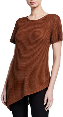 Eileen Fisher Organic Linen/Cotton Short-Sleeve Asymmetric Tunic Sweater