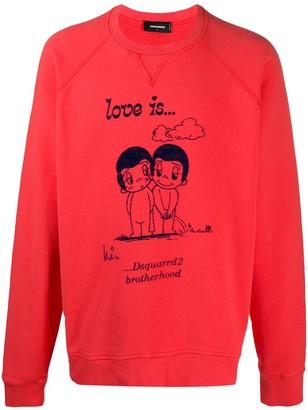 DSQUARED2 Love Is... print sweatshirt