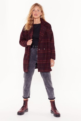 Nasty Gal Womens I Want You So Plaid Oversized Coat - Red
