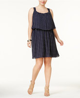 ING Trendy Plus Size Star-Print Popover Dress