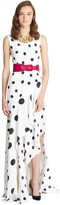 Oscar de la Renta Polka Dot 3-Ply Ruffle Dress