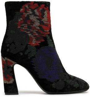 Roger Vivier Bead-embellished Crushed-velvet Ankle Boots