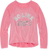 Arizona Light Weight Embellished Graphic Sweater - Girls 7-16 and Plus