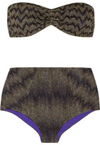 Missoni Mare Metallic Crochet-knit Bandeau Bikini - Black
