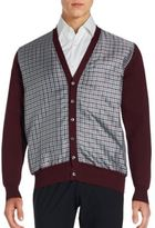 Brioni Check Printed Cotton Blend Long Sleeve Cardigan