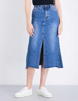 Mo&Co. Split-hem denim skirt