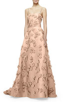 Carolina Herrera Sleeveless 3D Floral-Embellished Gown, Nude