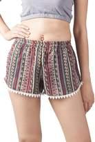 Lofbaz Women's Printed Lace Summer Shorts Dark Purple XL