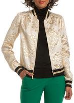 Trina Turk Pep Tiergarten Floral Jacquard Varsity Zip Jacket