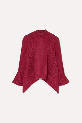 Stella McCartney Cable-knit Alpaca-blend Sweater - Plum