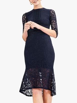 Oasis Lace Fishtail Midi Dress, Navy