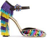 Dolce & Gabbana Embellished Leather Mary Jane Pumps - Purple