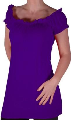 Eyecatch TM - Nikita Womens Gypsy Tunic Plus Size Ladies Off The Shoulder Boho T-Shirt Long Top Limegreen Size 18
