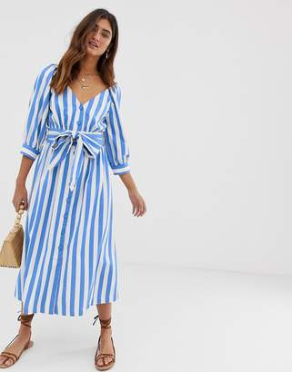 Moon River waist tie button up midi dress-Blue