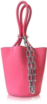 Alexander Wang Fluo Coral Leather Roxy Mini Bucket Bag