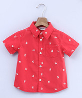 Beebay Boys' Button Down Shirts Red - Red Sailboat Button-Up - Newborn, Infant & Boys