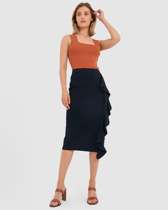 Forcast Women's Black Midi Skirts - Demi Ruffle Midi Skirt - Size One Size, XS at The Iconic
